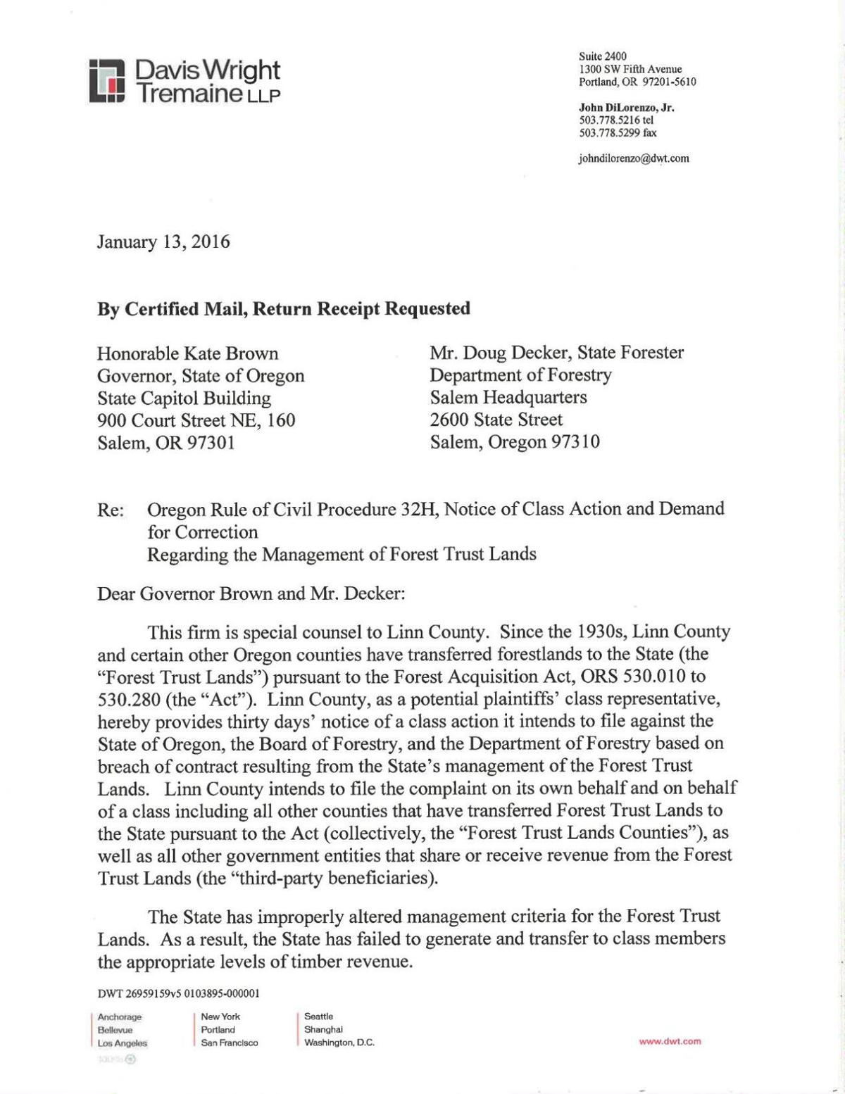 Linn County Lawsuit with state