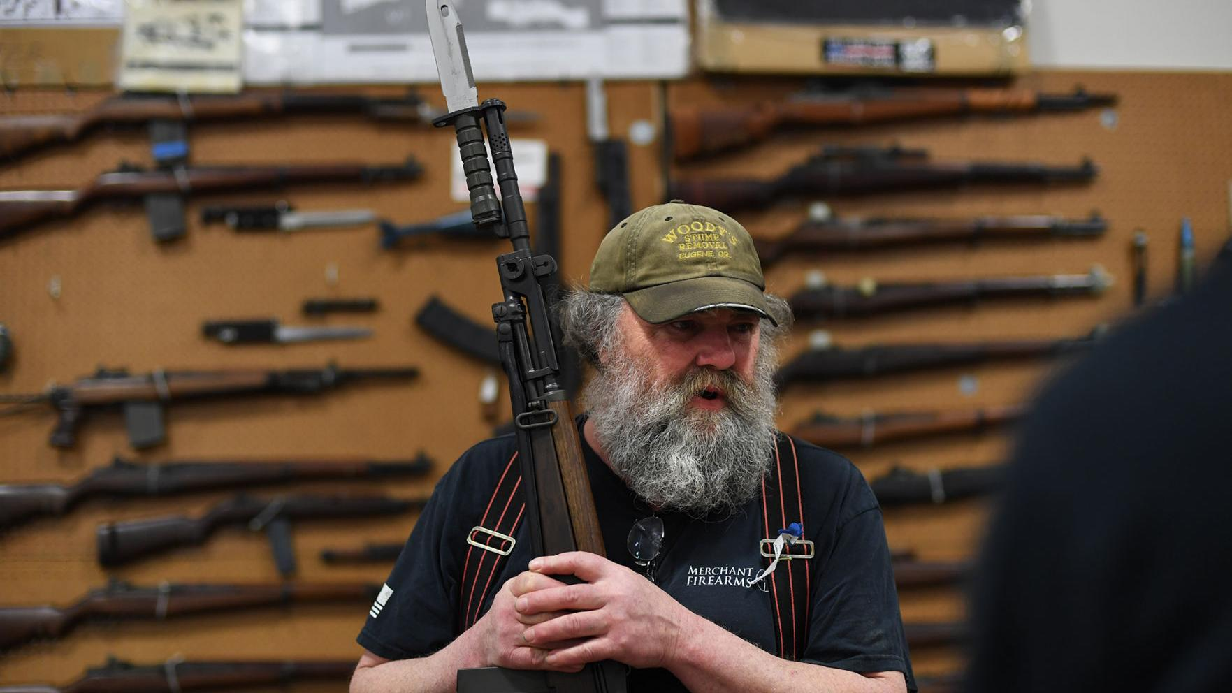 The art of weaponry: Firearms old and new displayed at gun show; merchants say sales slow in Trump era