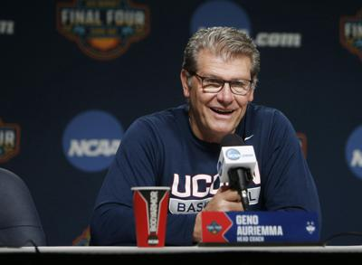 Connecticut head coach Geno Auriemma talks to reporters ahead of the NCAA Tournament's Final Four at the Amalie Arena in Tampa, Fla., on April 4, 2019.