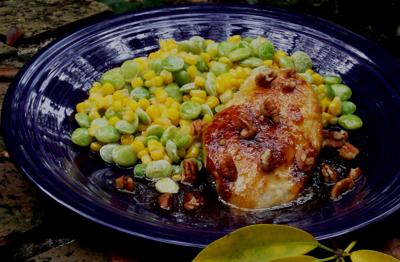 Maple syrup with chicken, hot succotash perfect mix of sweet and spicy