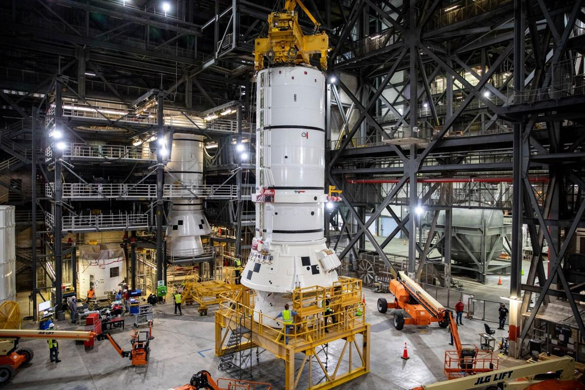 SLS Artemis I Aft Segment Prep for Move/Stacking