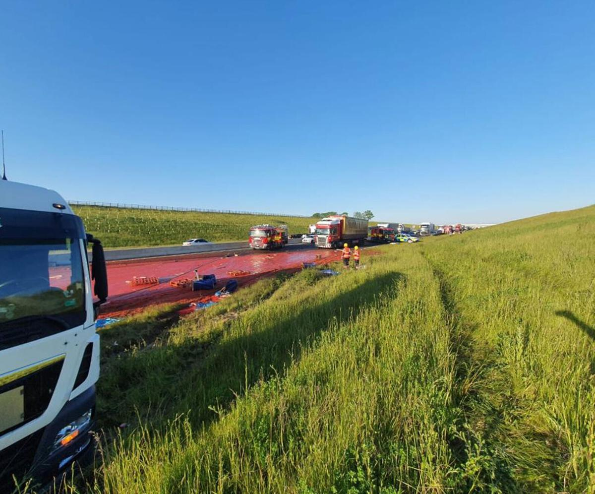 Truck carrying tomato puree crashes, turning road red