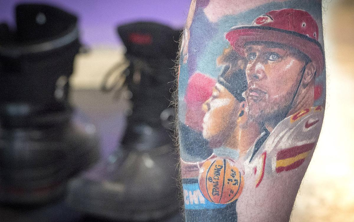 Getting ready for another tattoo, Rob Rob Gaskins, 34, of Belton, sports many tattoos including a portrait of Kansas City Chiefs' Travis Kelce, inked by tattoo artist Jeremy Taylor of Skin Quest Tattoos in Kansas City. Taylor has seen an increase in the demand for Chiefs-themed tattoos since the arrival of quarterback Patrick Mahomes.