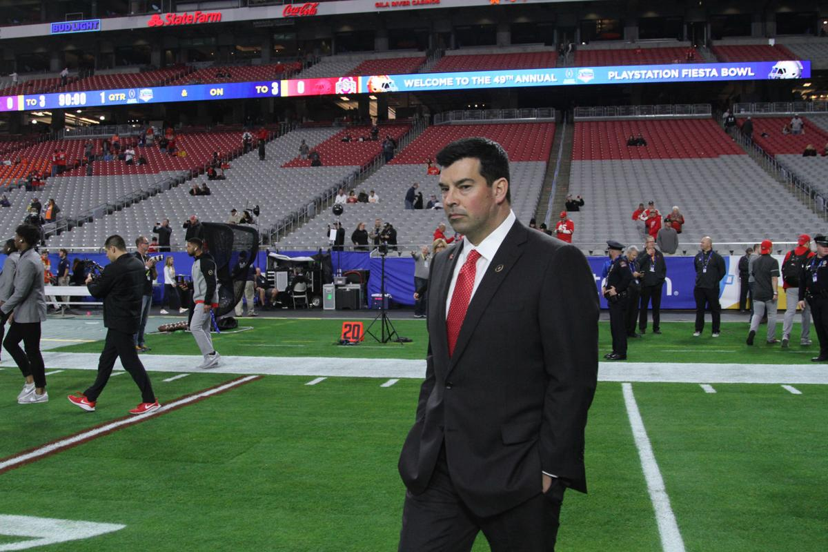 Ohio State head coach Ryan Day arrives to check out the field at the 2019 Fiesta Bowl at State Farm Stadium in Glendale, Arizona on Saturday, December 28, 2019.
