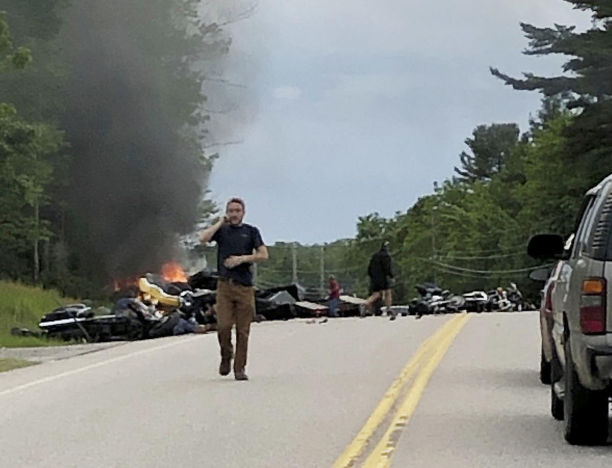 7 dead, 3 hurt in crash between pickup truck, motorcycles on rural
