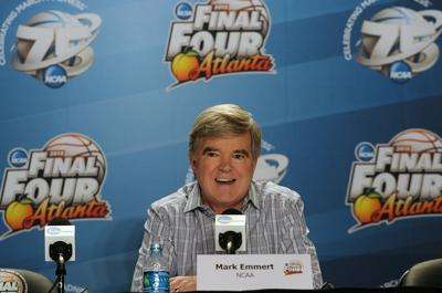 NCAA president Dr. Mark Emmert speaks to the media during the Final Four news conference in Atlanta on April 4, 2013.