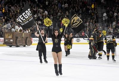 Members of the Knights Guard celebrate on the ice after the Vegas Golden Knights' 3-0 victory over the New Jersey Devils on March 3, 2020 at T-Mobile Arena in Las Vegas, Nev.