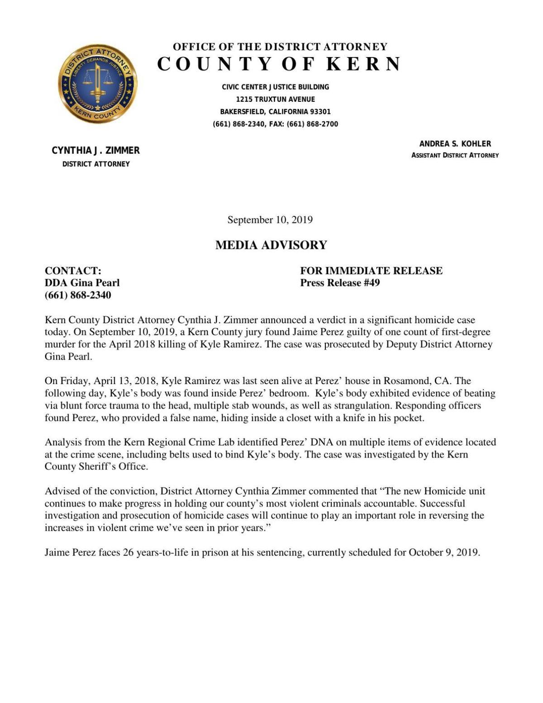 Press Release  Murder Conviction Jaime Perez