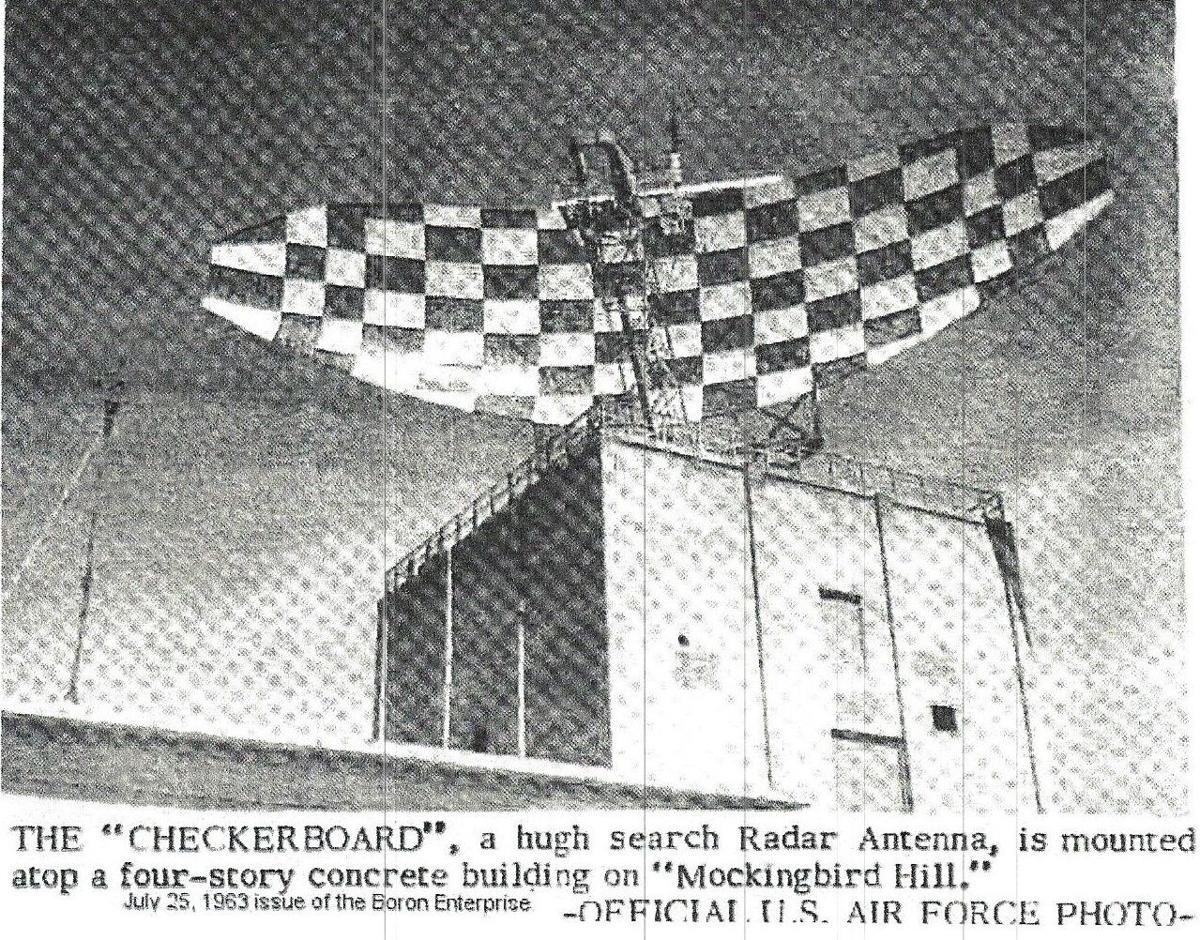 Boron Air Force Station checker board radar search antenna - official U.S. Air Force photo printed in the Boron Enterprise on July 25, 1963. (2).jpg