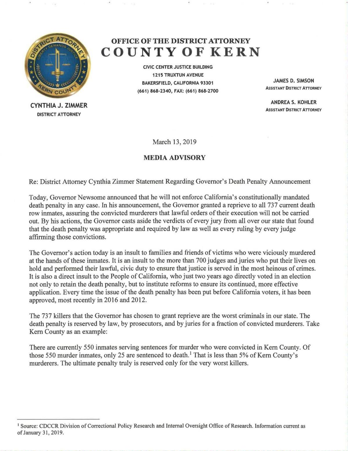Press Release DA Zimmer's response to Governor suspending death penalty