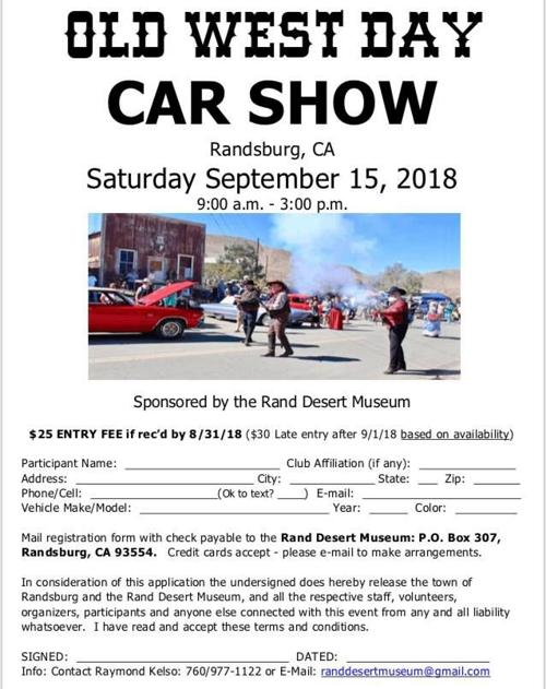 Randsburg Old West Day Car Show Flyer News Desertnewscom - Old town car show 2018