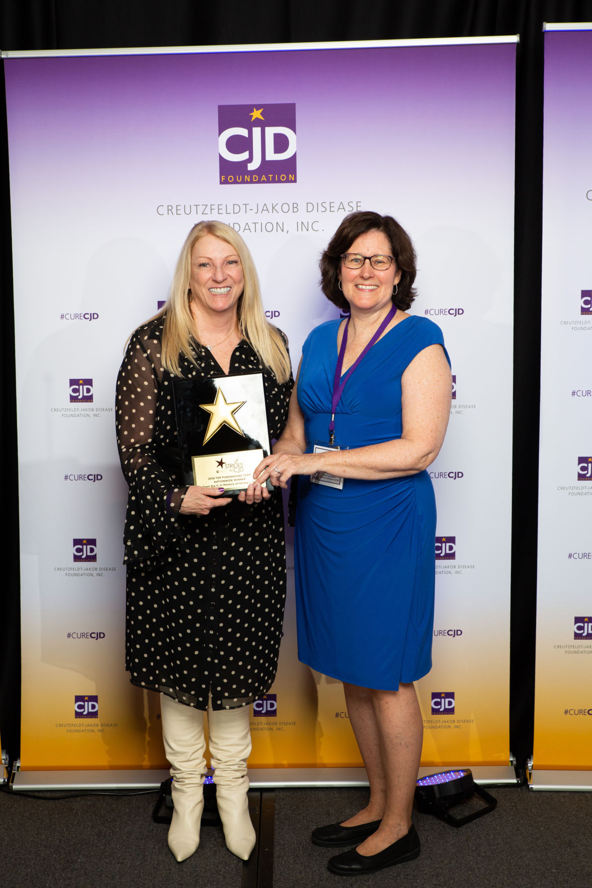 Lavonne Hall-receives-award-Debbie Yobs-CJD Foundation President.