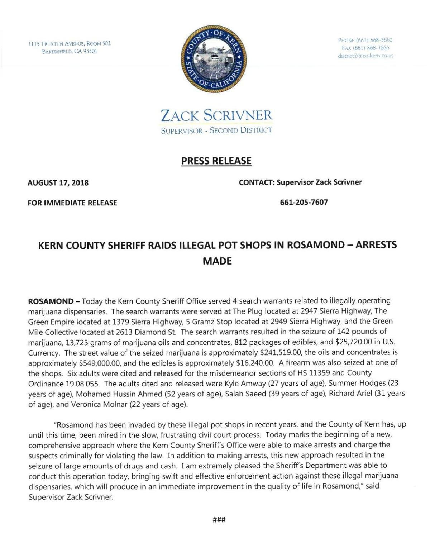 rosamond pot shop raid press release     desertnews com