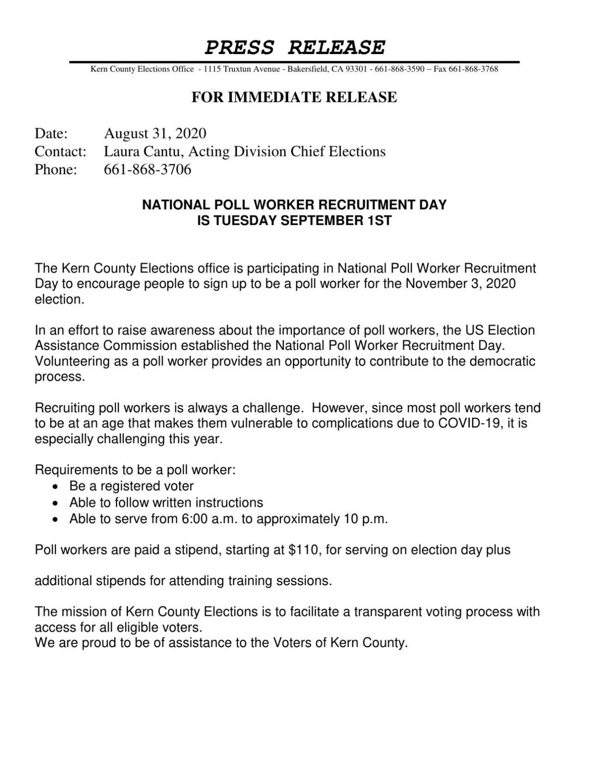 NATIONAL POLL WORKER RECRUITMENT DAY IS TUESDAY SEPTEMBER 1ST