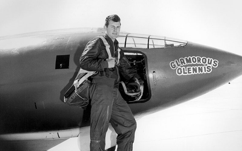 Chuck Yeager by his Glamorous Glennis aircraft which was a Bell X-1.