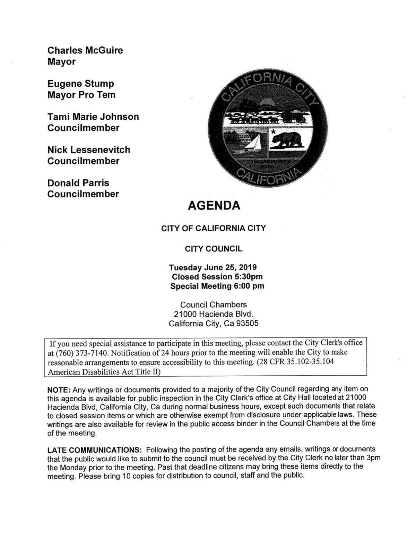 June 25th 2019 California City Agenda