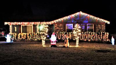 Lighted Christmas home