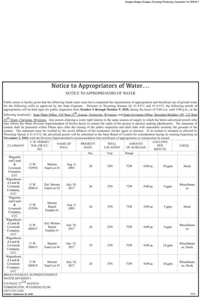 Notice to Appropriators of Water...