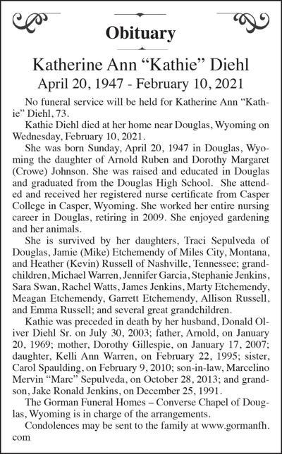 """Katherine Ann """"Kathie"""" Diehl"""