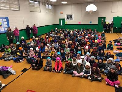 Caps donated for each student at Mark Twain Elementary