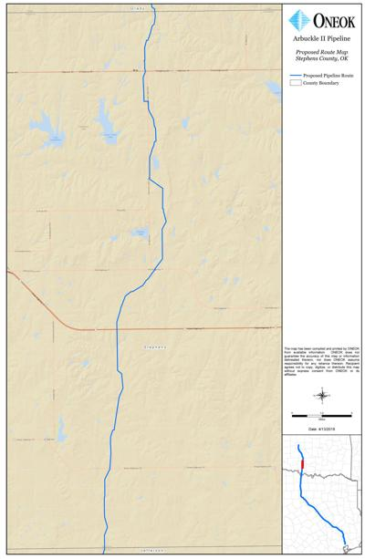 The Arbuckle II pipeline map from ONEOK