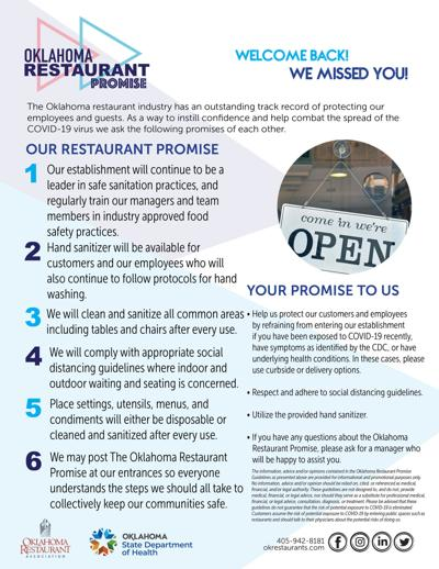 Oklahoma Restaurant Promise provides dining confidence with restaurant openings