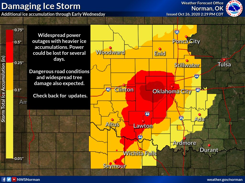 Damaging Ice Storm graphic