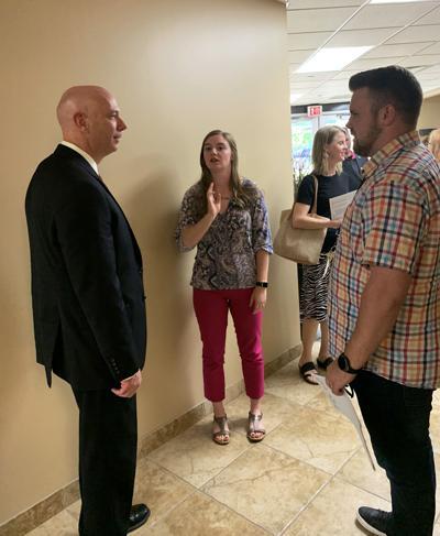 Dr. Tom Deighan meets with teachers