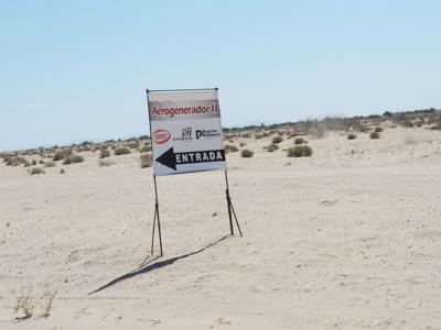 "Sign indicating the site of suspected ""Aerogenerador"" impact crater"