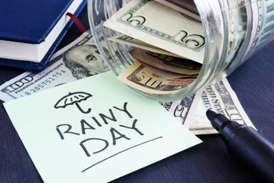 0516 Vidro Rainy day fund savings Jar dollar bills
