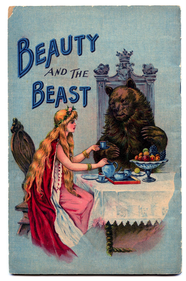 """Vintage book cover of """"Beauty and the Beast"""""""