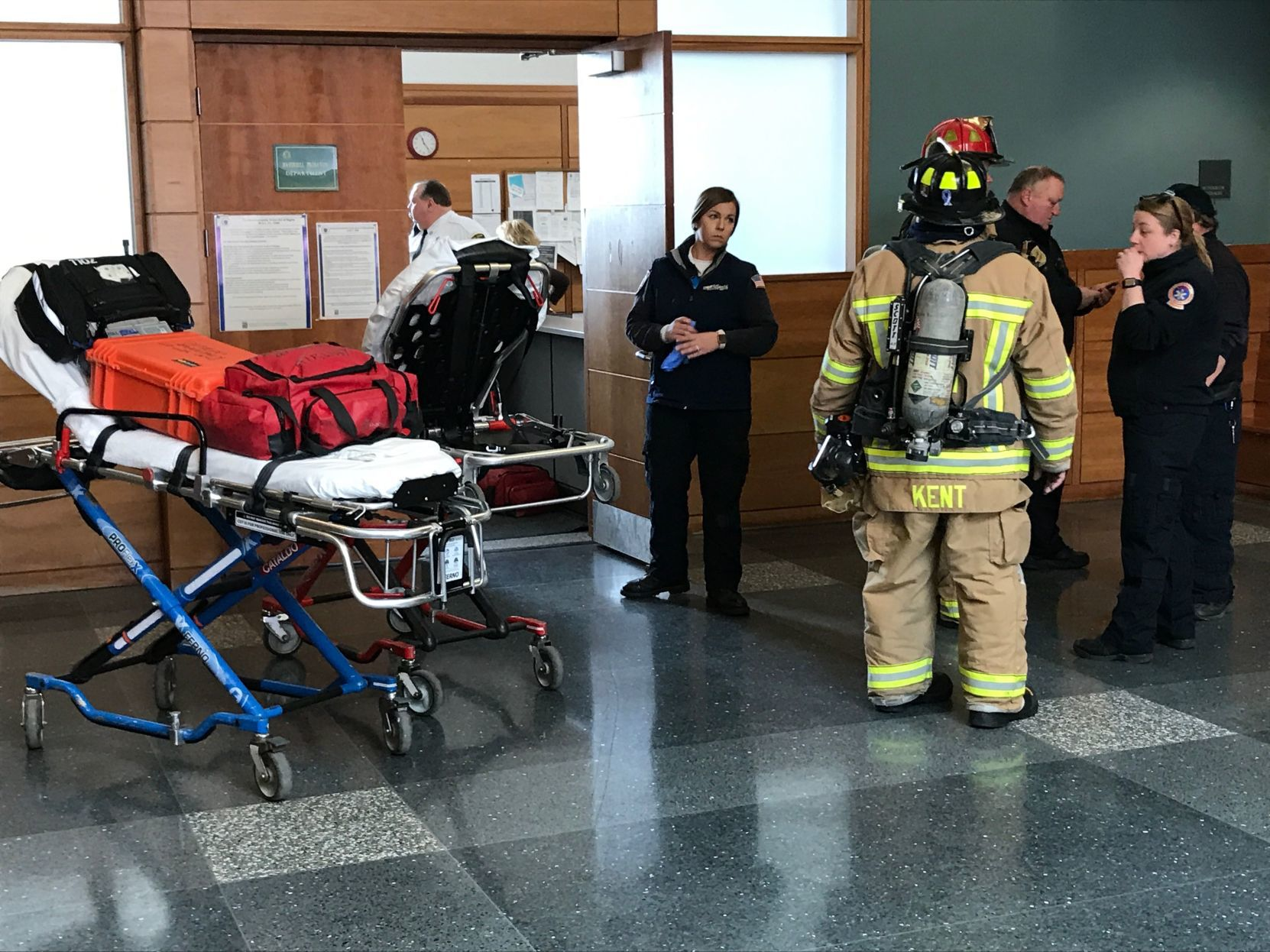 Emergency responders investigate reported spill Emergency workers