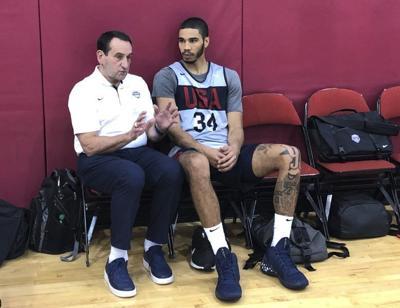 Krzyzewskichats with Tatum, USA Basketball team