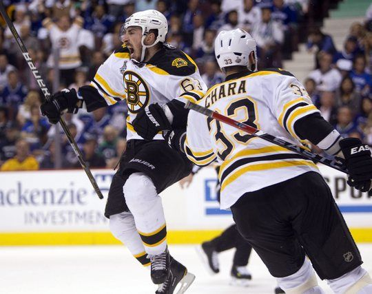 99c1062a7a5 Boston Bruins left wing Brad Marchand celebrates with Zdeno Chara after  scoring against the Vancouver Canucks during the second period of Game 7 of  the NHL ...