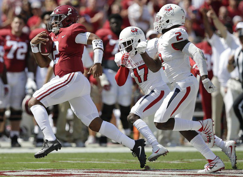 Hurts, No. 1 Tide roll over Fresno State, 41-10