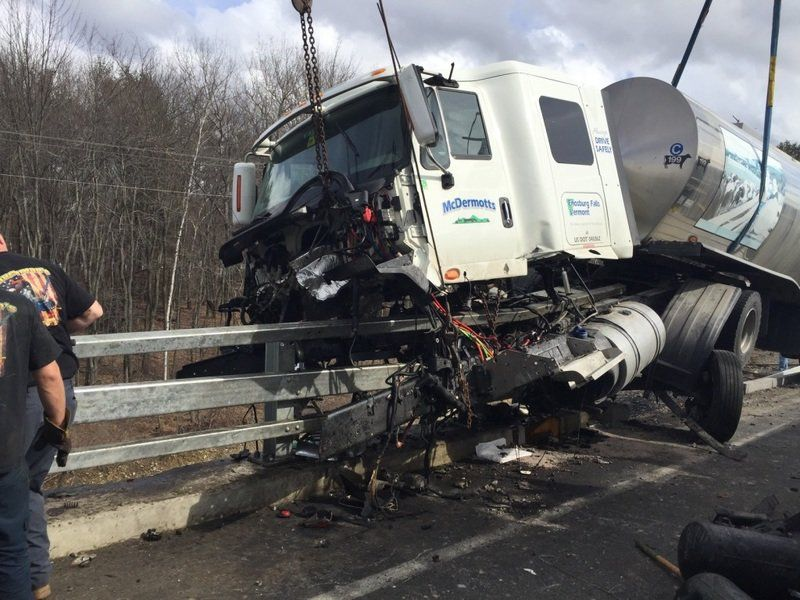 Dairy tanker accident backs up I-93 for hours Estimated 100 gallons