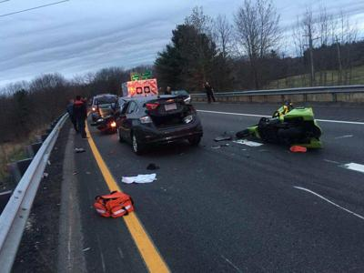 Four people on motorcycles sent to hospitals after Route 213
