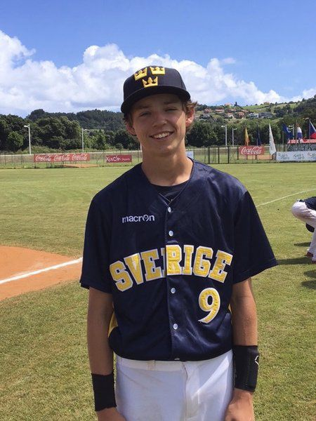Seb in sweden rising north andover star plays on swedish national sebastian keane of north andover shown wearing his swedish national team baseball uniform before a game with germany a few weeks ago sciox Images