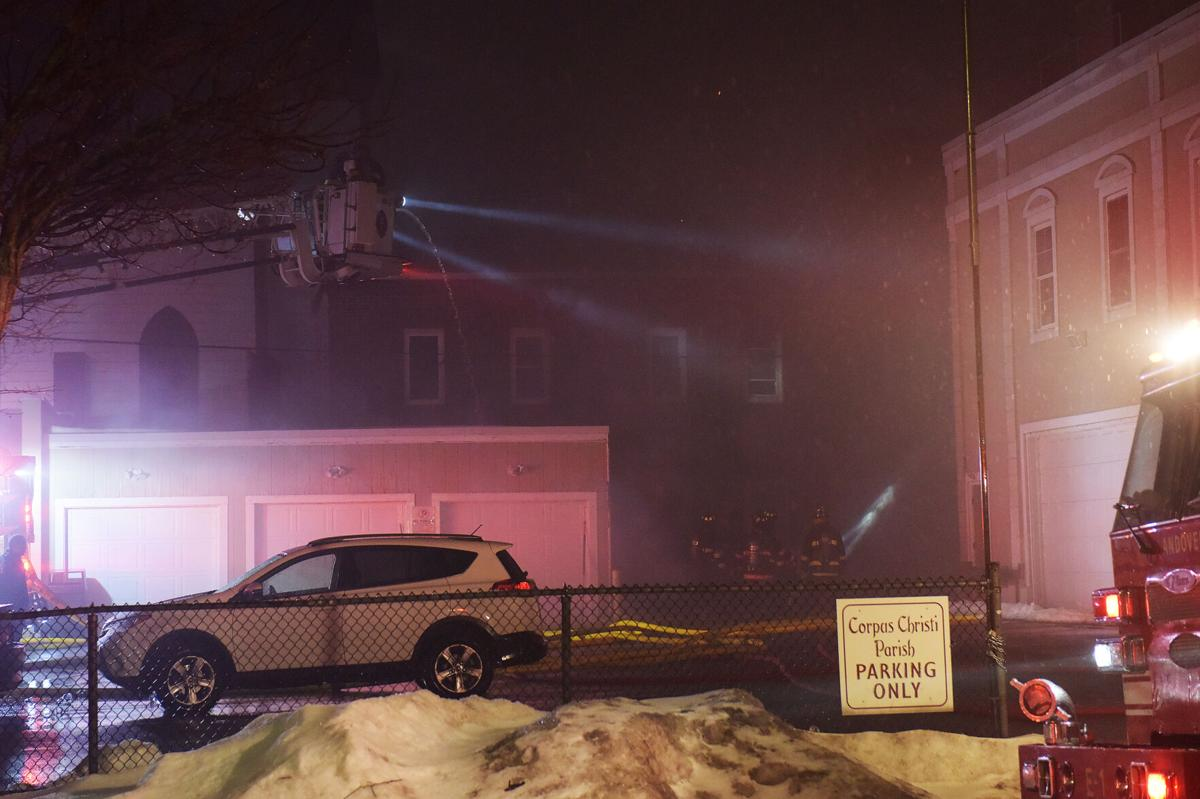 Firefighters battle blaze in church rectory for hours Monday night