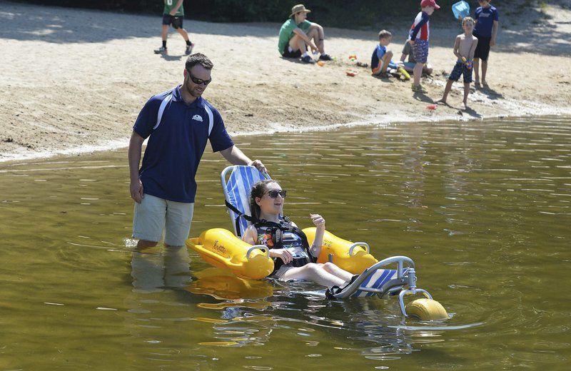 Pomps Pond in Andover gets floating wheelchair