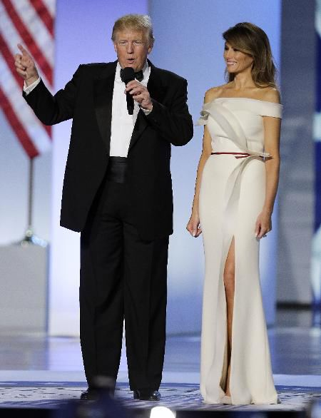 President Donald Trump and first lady Melania Trump arrive at the Freedom  Ball in Washington during the presidential inauguration in January 2017.