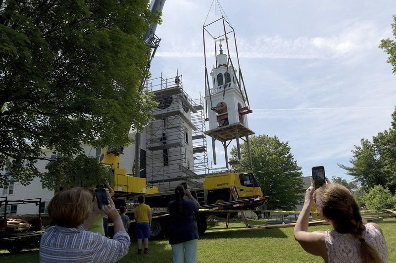 Tower, steeple reconnected at historic meetinghouse in Derry