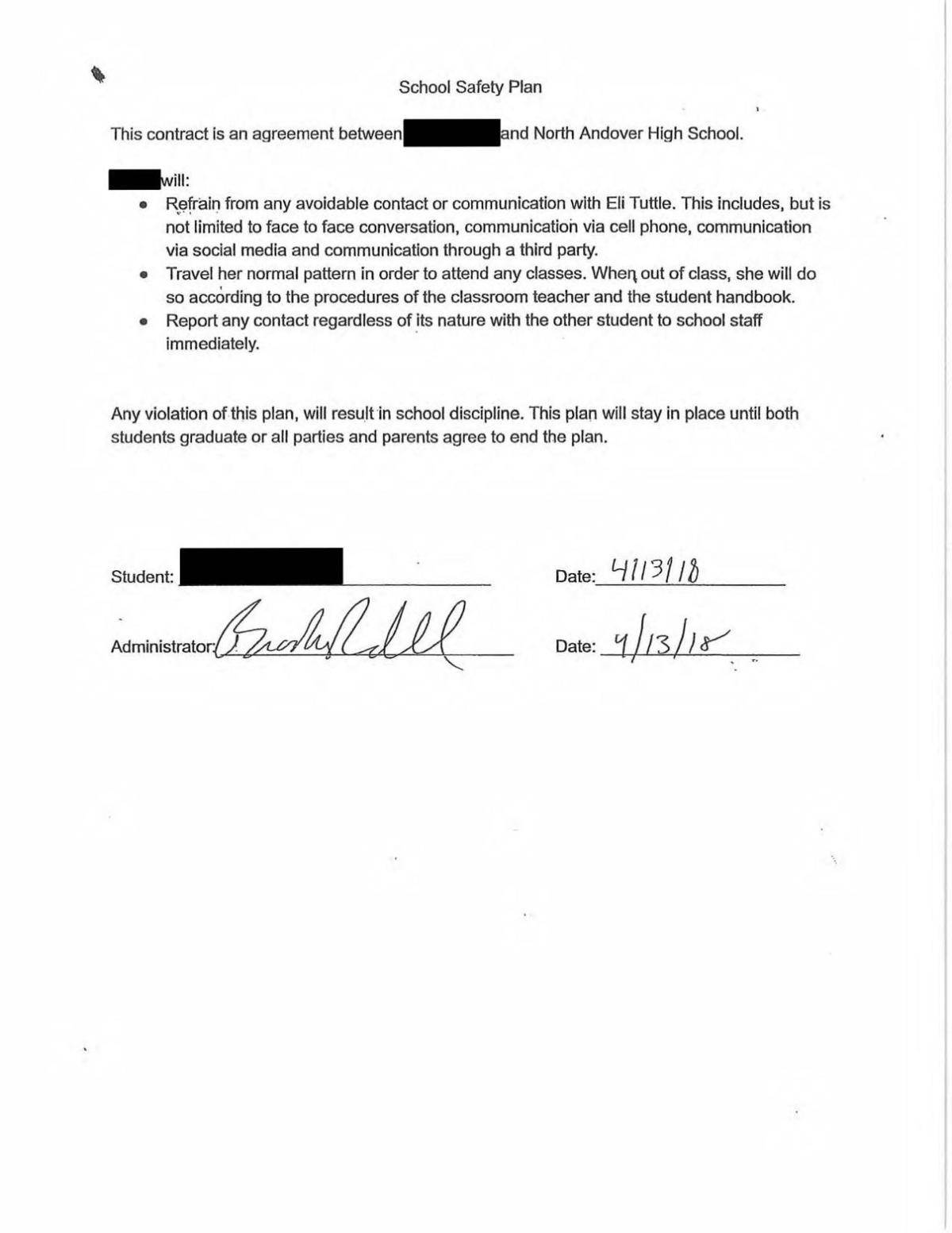 Redacted North Andover School Safety plan document