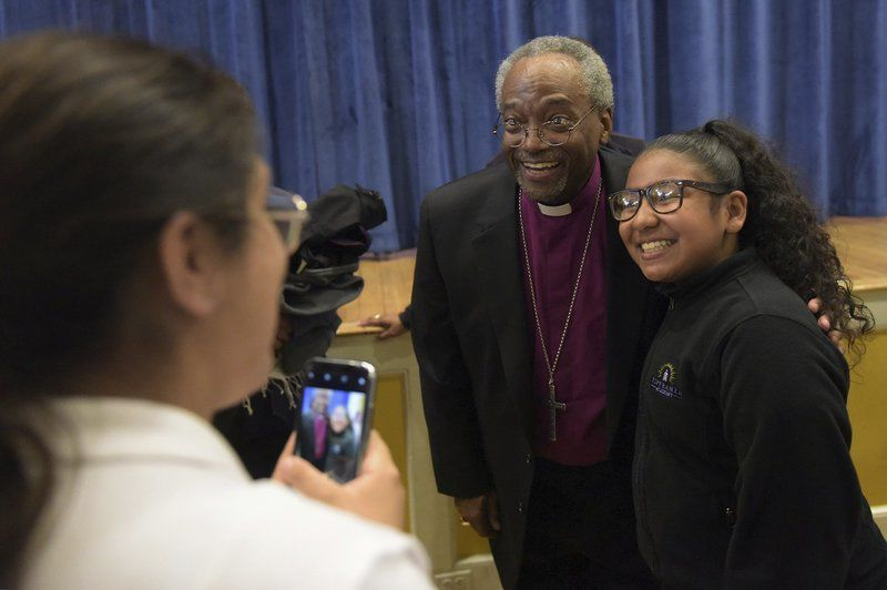 Bishop meets students, hears gas disaster stories