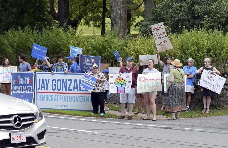 Candidates protest Baker's support for Lyons