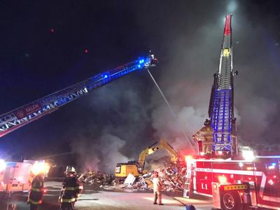 Ladder trucks respond to fire