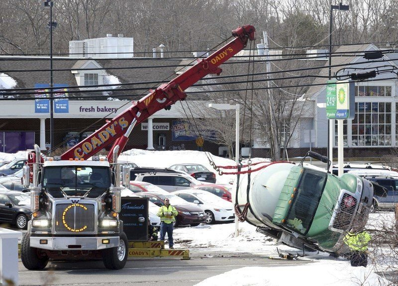 Safety features work on flipped propane truck