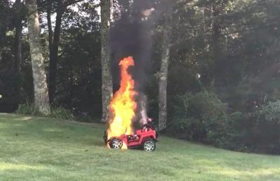 Toy car catches fire, melts in back yard