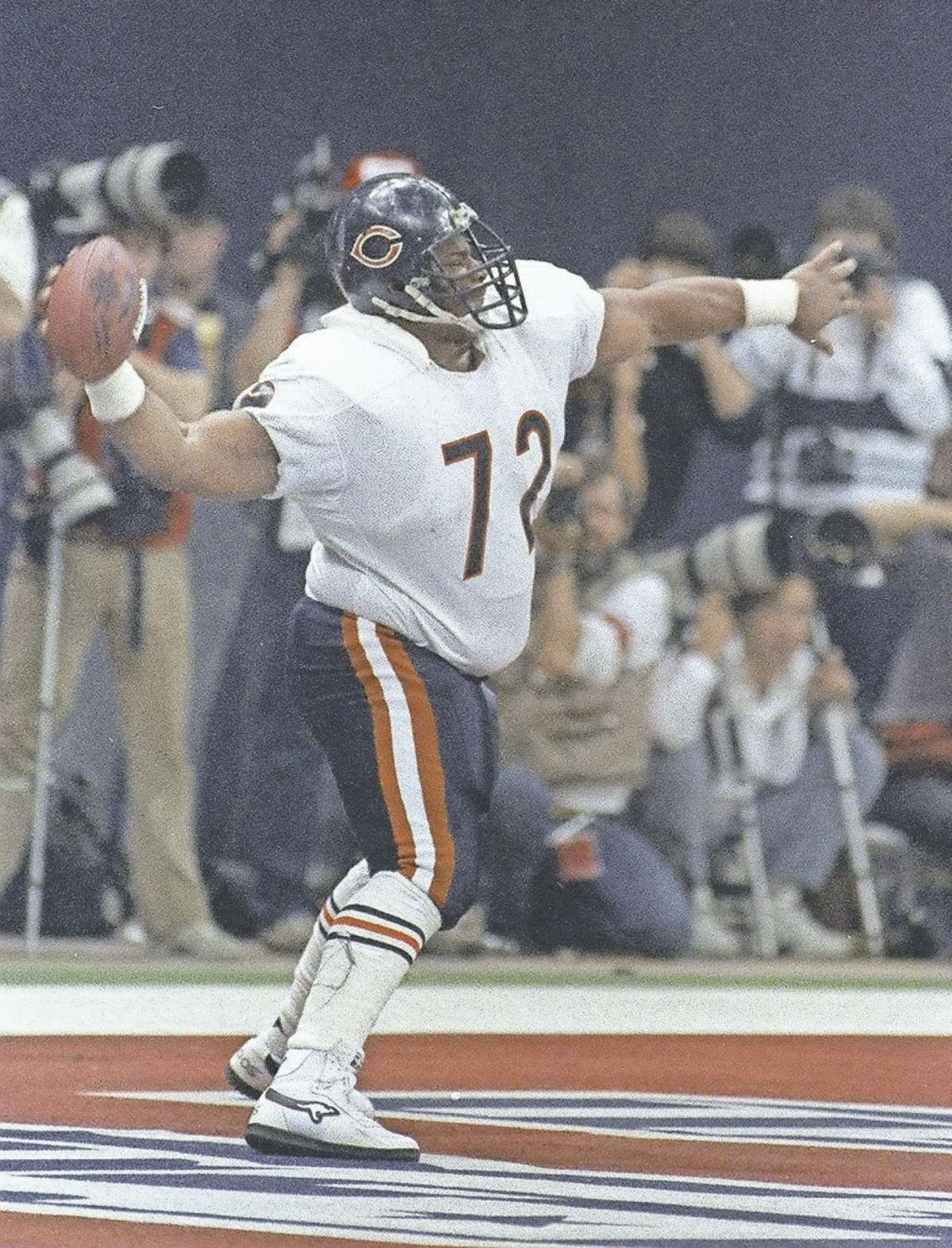 "Chicago Bears  William ""The Refrigerator"" Perry spikes the ball after  scoring a touchdown in Super Bowl XX. The Bears won 46-10. It was  heartbreaking for ... 9f564a5b5"
