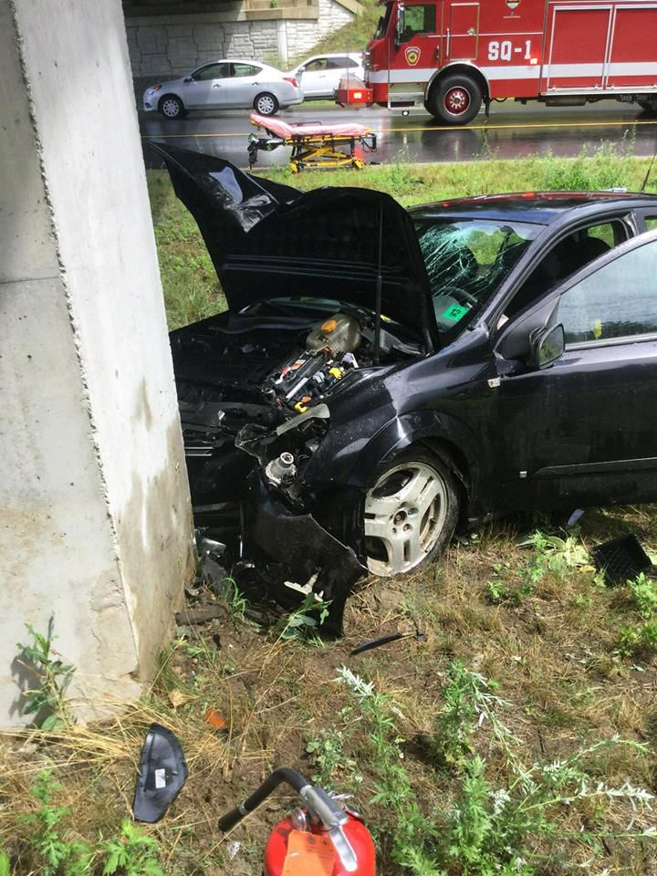 Unidentified man's vehicle crashes into bridge abutment on I